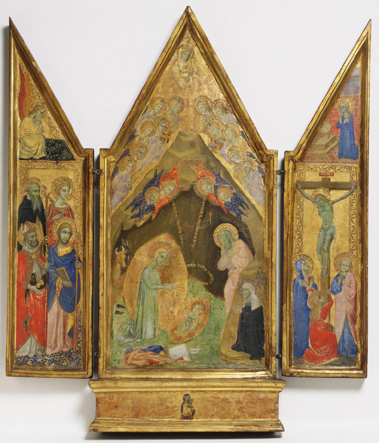 Saint Bridget's Vision of the Nativity [center]; Virgin and Child [base]; Annunciate Angel and Saints Anthony Abbot, Catherine of Alexandria, Nicholas of Bari, and James Major [left wing]; Virgin Annunciate and the Crucifixion [right wing]