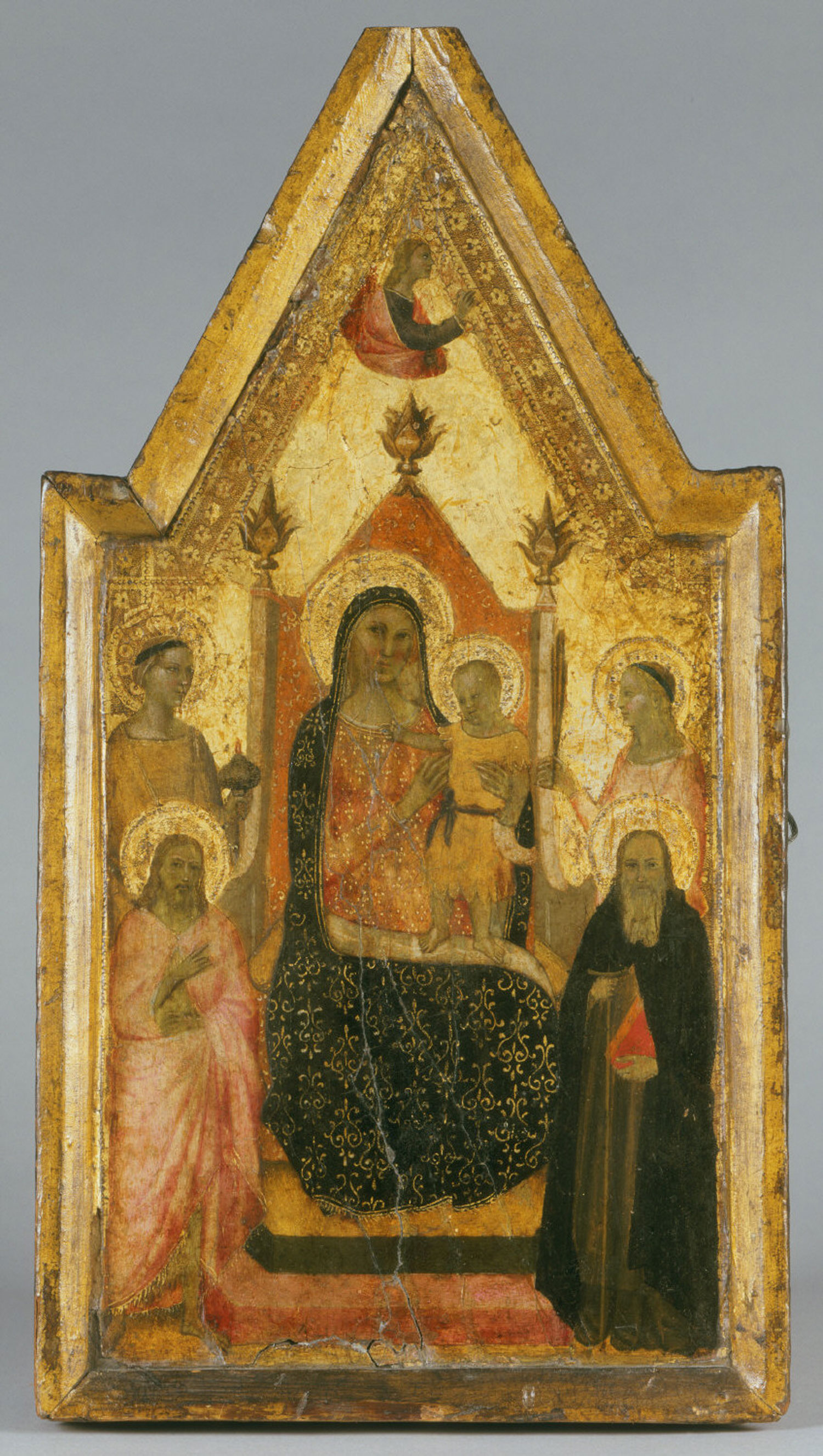 Virgin and Child Enthroned with Saints Lucy, John the Baptist, and Anthony Abbot, a Female Martyr, and the Annunciate Angel