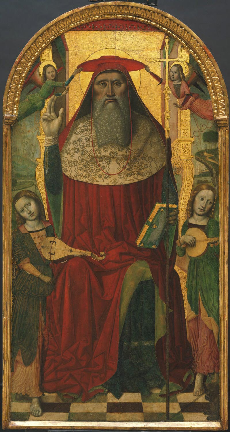 Enthroned Saint Jerome, with Angels
