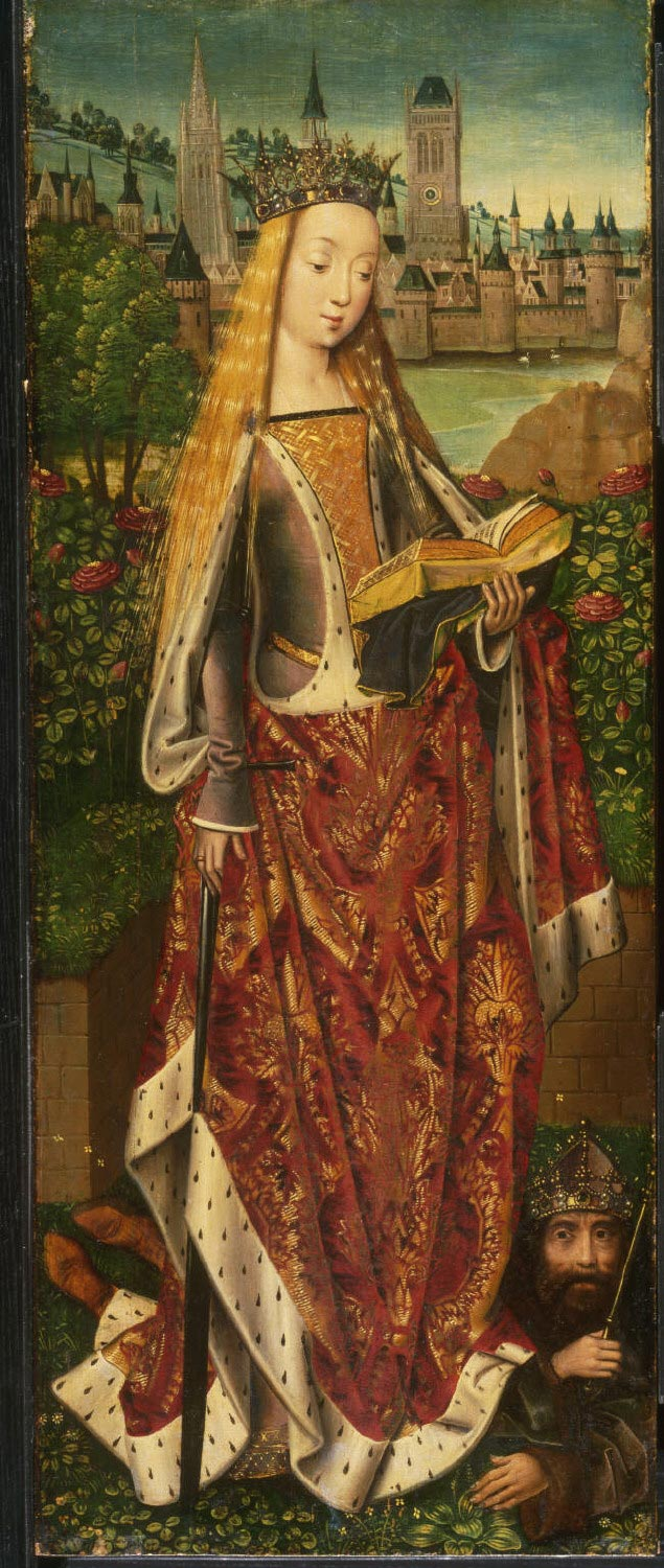 Saint Catherine of Alexandria, with the Defeated Emperor