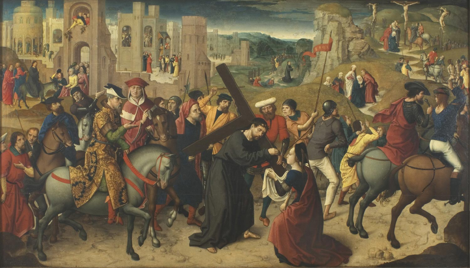 Christ Carrying the Cross, with the Entry of Christ into Jerusalem, Christ Driving the Moneychangers from the Temple, the Last Supper, Christ Crowned with Thorns, the Flagellation,