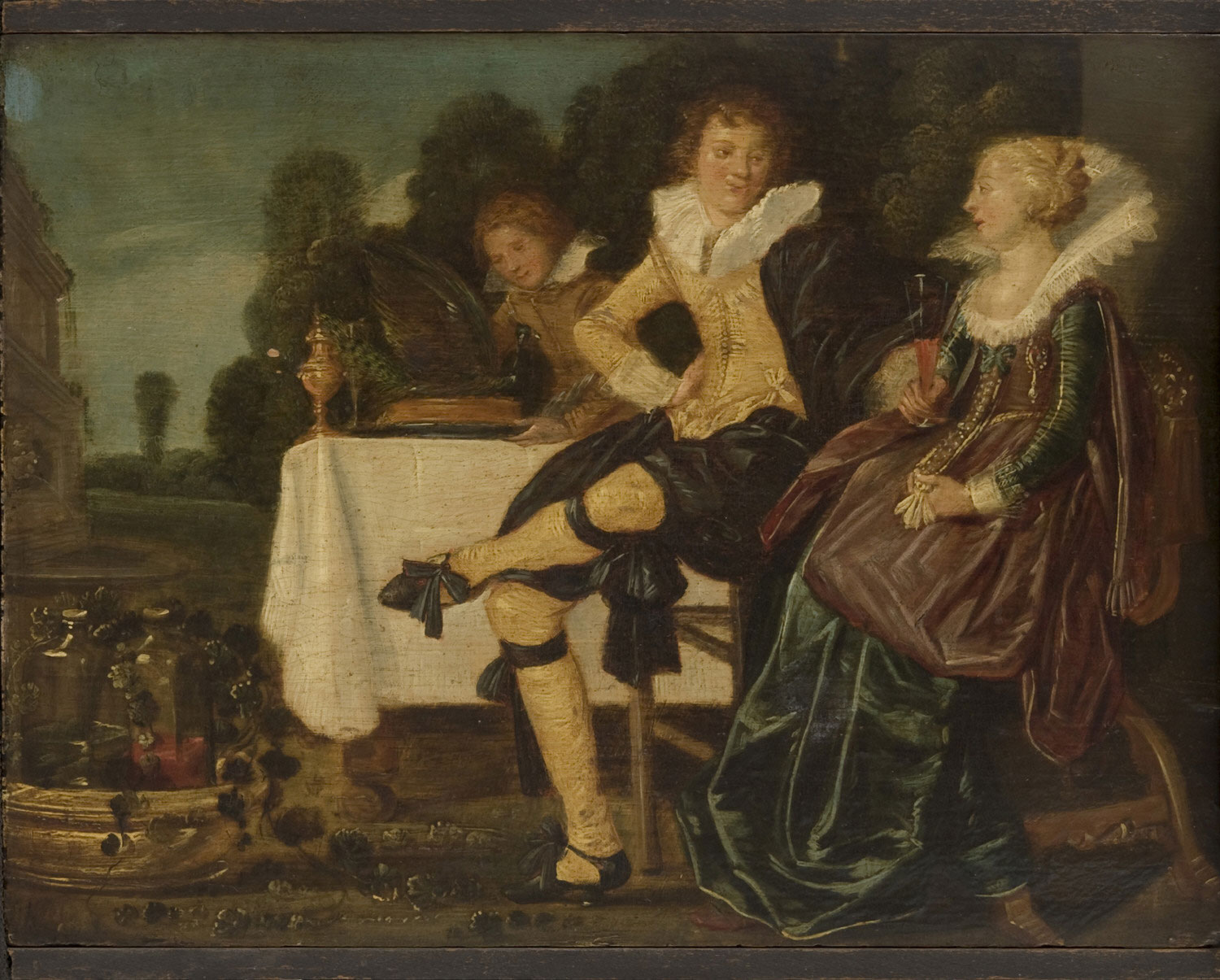 A Gentleman and a Lady Dining on a Terrace