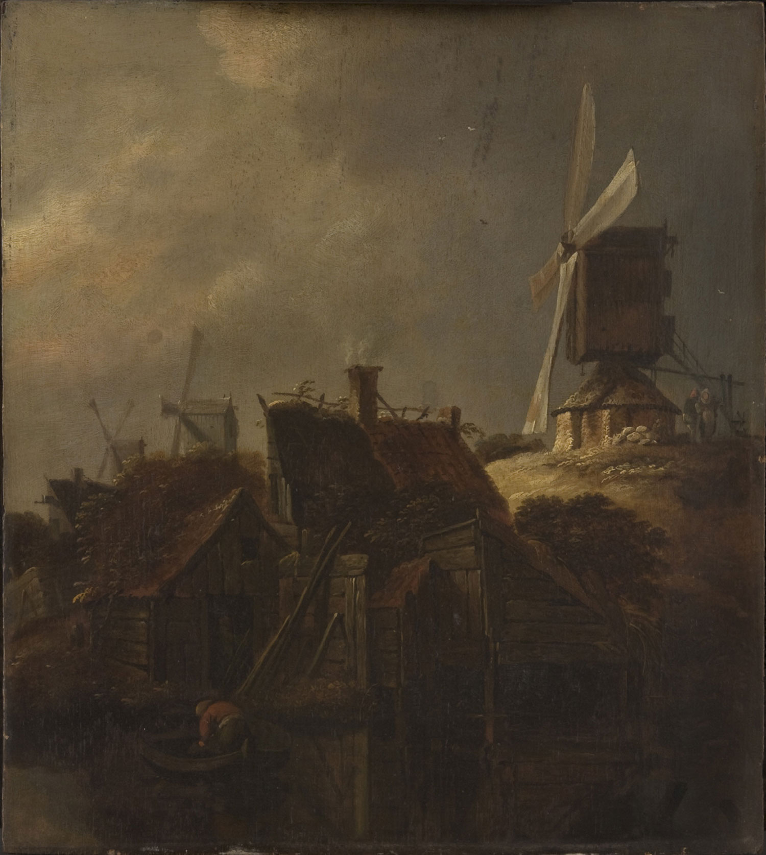 Windmills and Houses on the Waterside