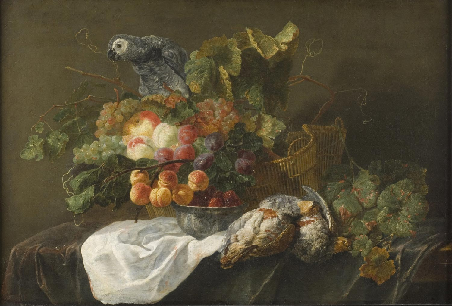 Still Life with Fruit, Dead Partridges, and a Parrot