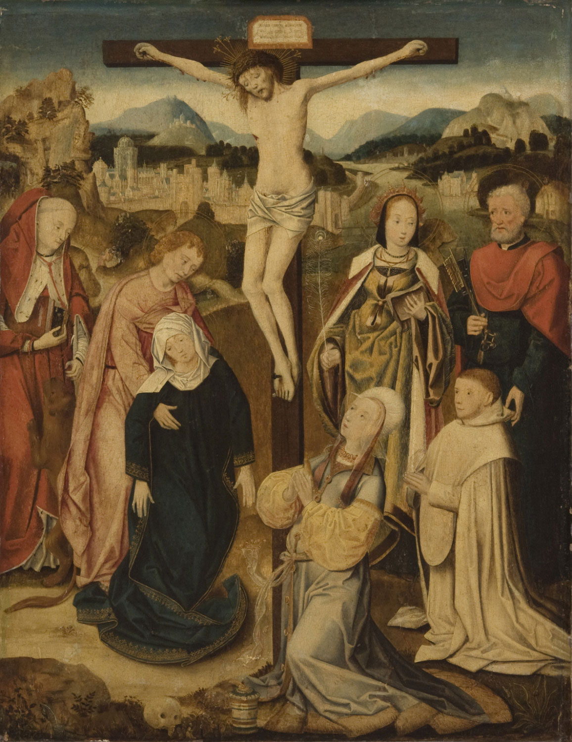 The Crucifixion, with Saints Jerome, Columba of Sens, and Peter, and a Donor