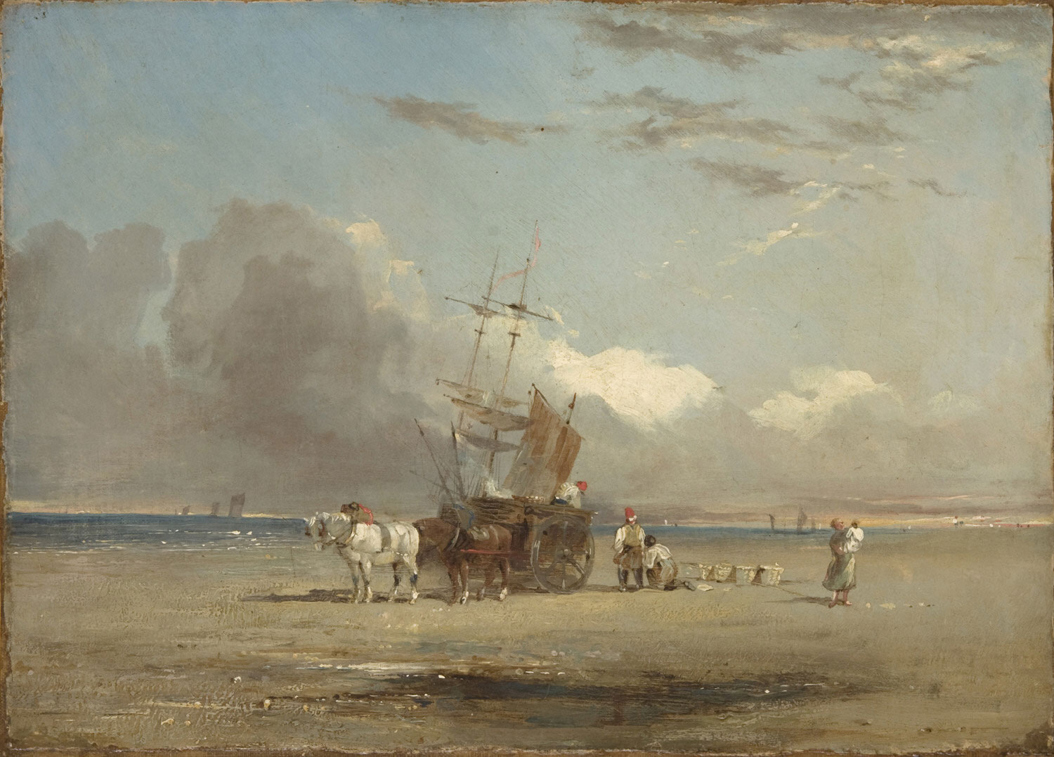 Beach with a Cart and Figures