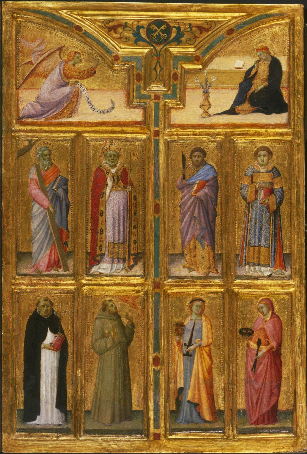 Annunciate Angel, the Apostle Andrew, a Bishop Saint (Savinus?), and Saints Dominic and Francis of Assisi [left]; Virgin Annunciate and Saints Bartholomew, Lawrence, Lucy, and Agatha [right]