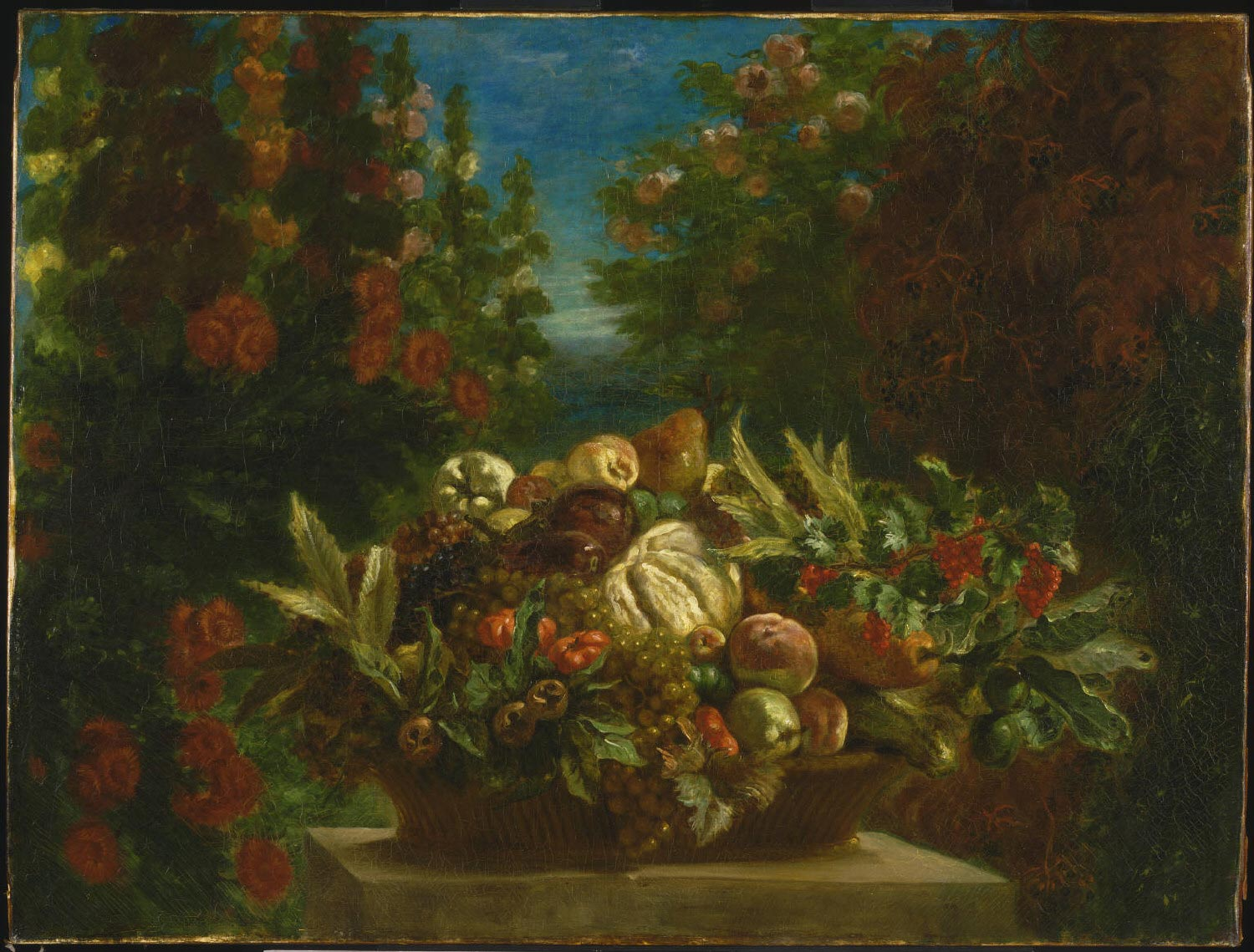 Basket of Flowers and Fruit