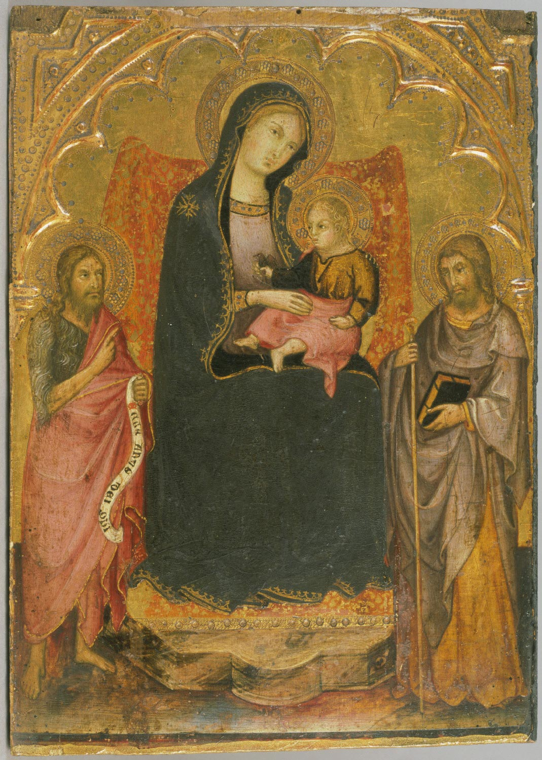 Virgin and Child Enthroned with Saints John the Baptist and James Major