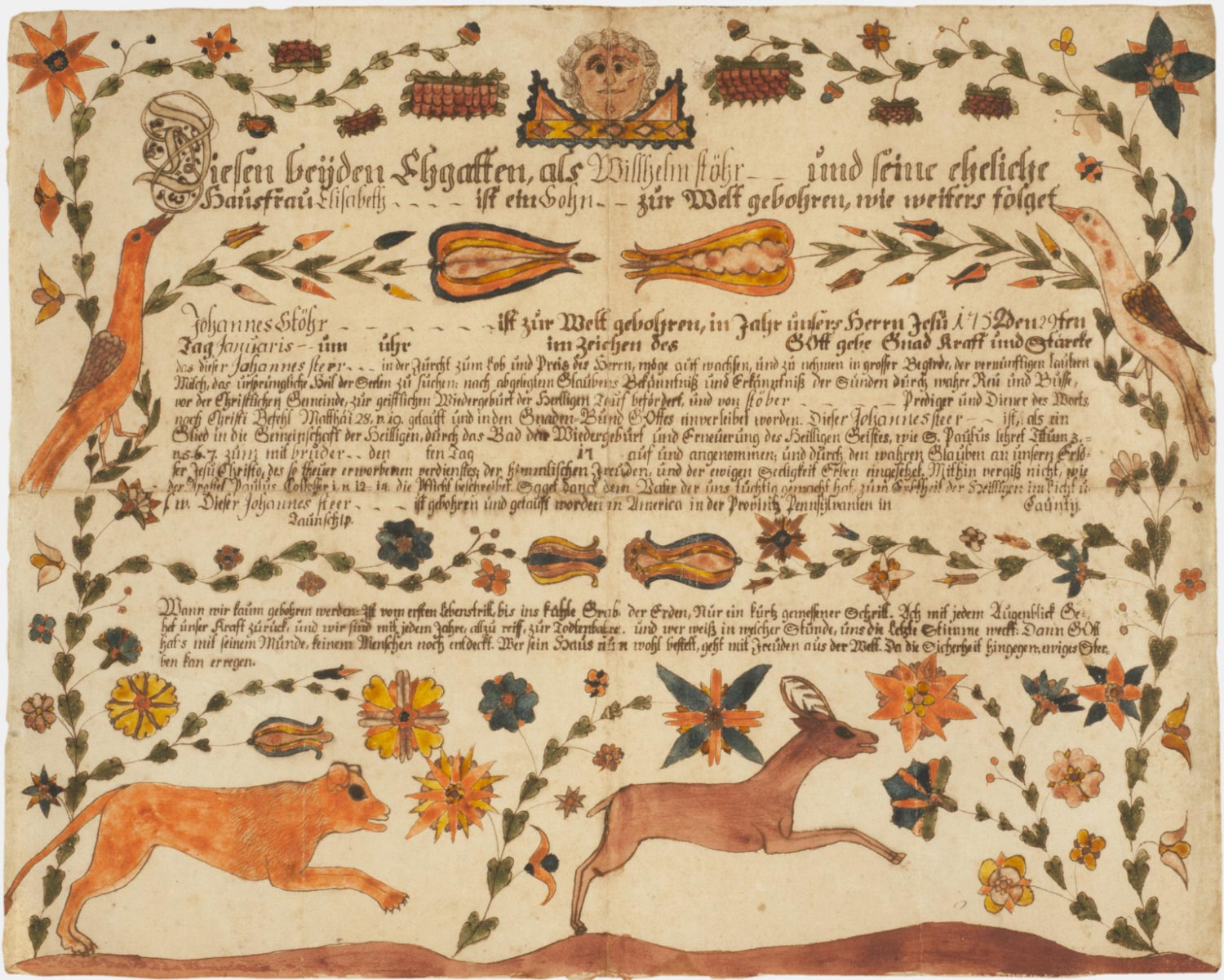 Birth and Baptismal Certificate for Johannes Stohr (born January 10, 1752)