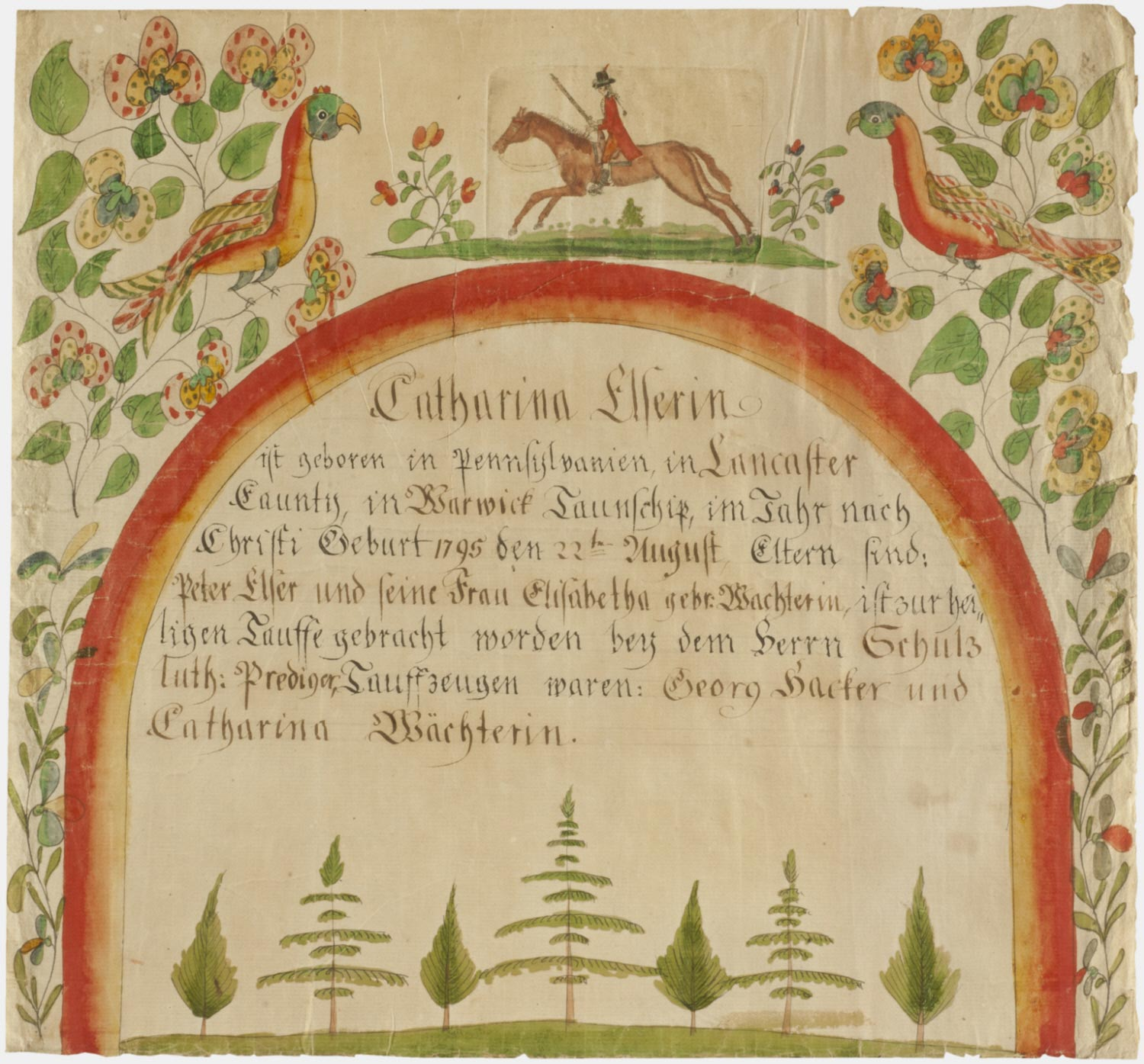Birth and Baptismal Certificate for Catharina Elser (born August 22, 1795)