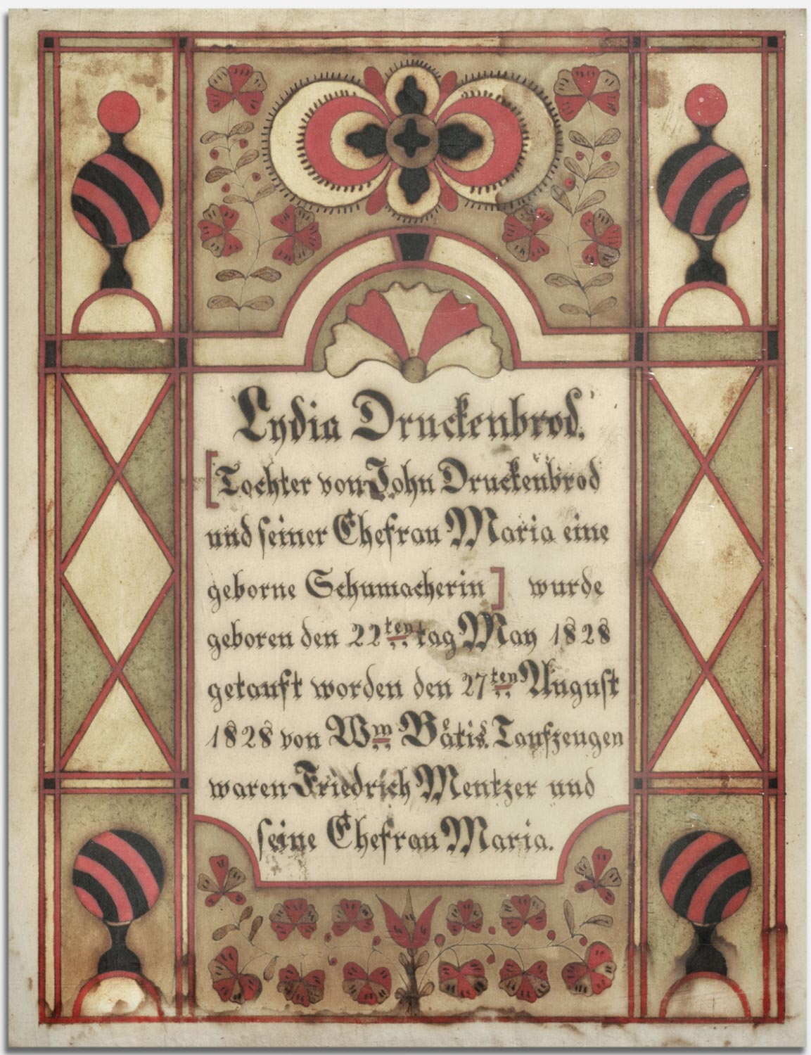 Birth and Baptismal Certificate for Lydia Druckenbrod (born May 22, 1828)