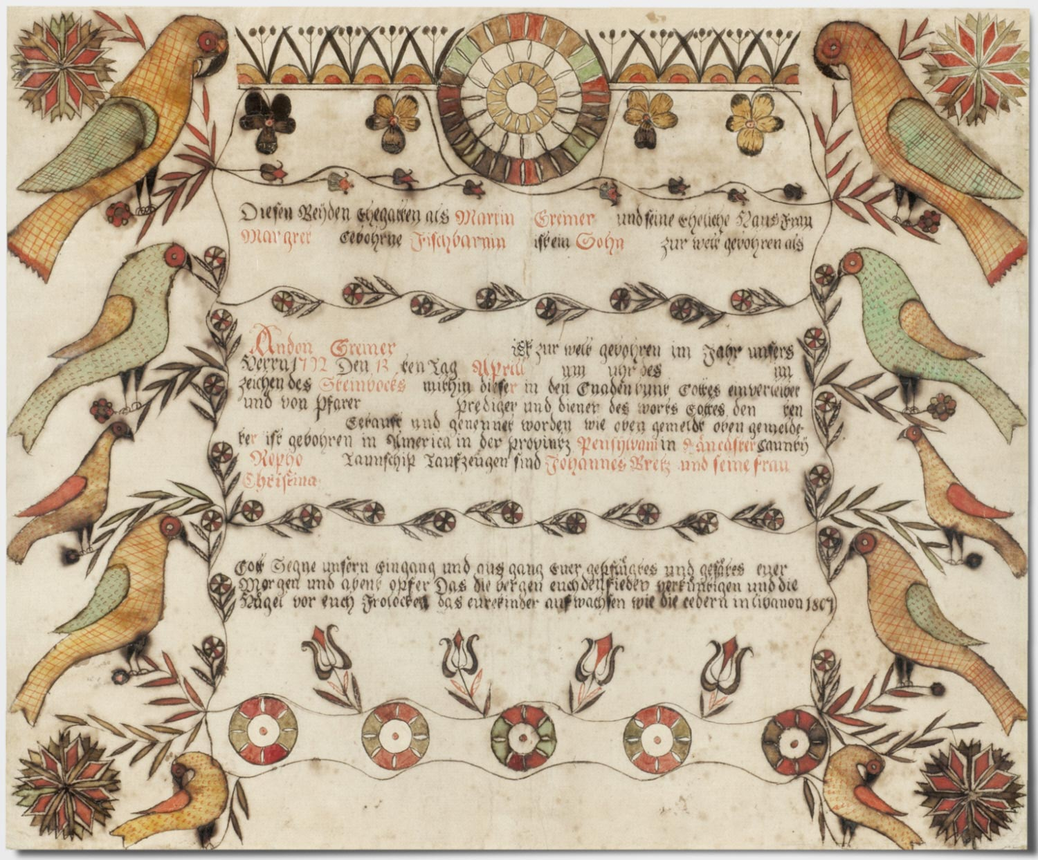 Birth and Baptismal Certificate for Andon Greiner (born April 13, 1792)
