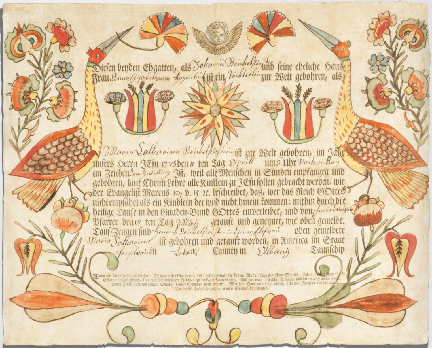 Birth and Baptismal Certificate for Maria Catharina Reichelstörffer (born April 10, 1775)