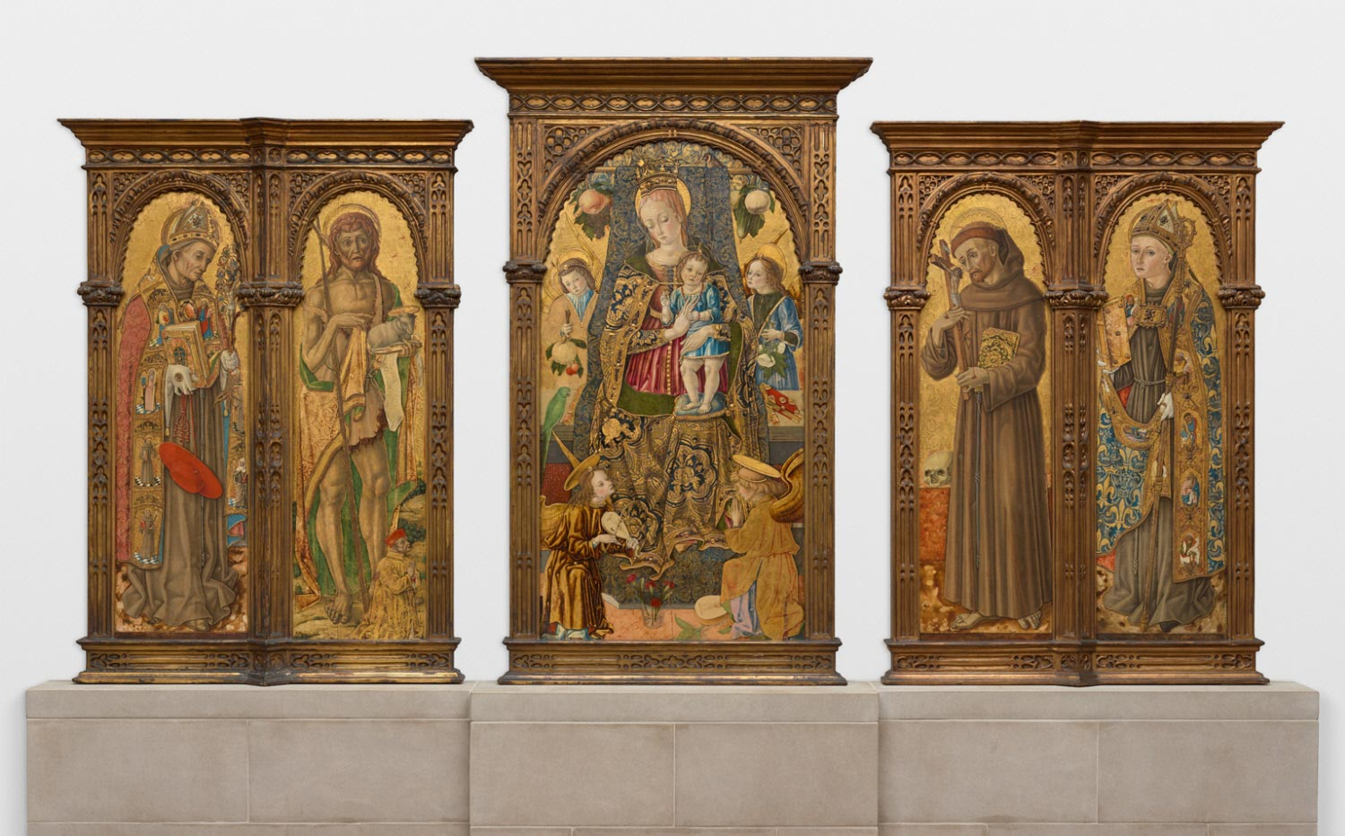 Saint Bonaventure and Saint John the Baptist with Ludovico Euffreducci; Enthroned Virgin and Child with Angels; Saint Francis of Assisi and Saint Louis of Toulouse