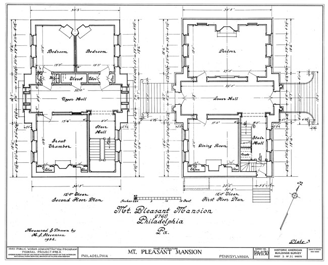 Plans of the first and second stories of the main house at Mount Pleasant drawn in 1932.