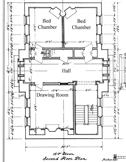 Mount Pleasant, plan of second story of the main house <br/>Historic American Building Survey (Library of Congress)